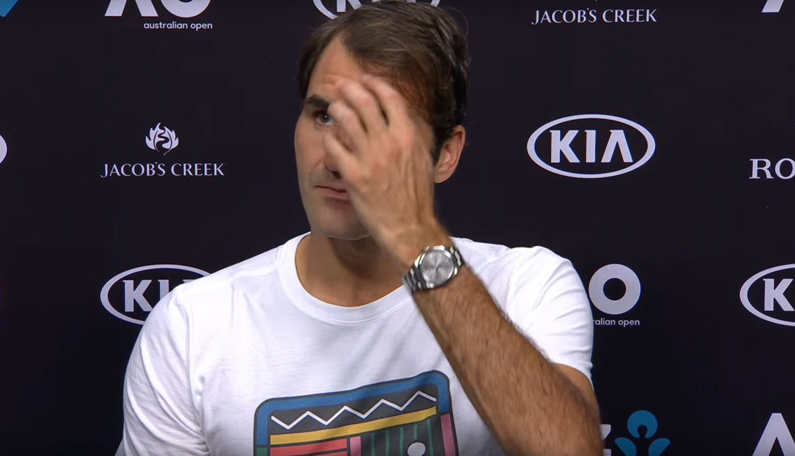 2017 Aus Open Press Roger Federer Rolex DateJust