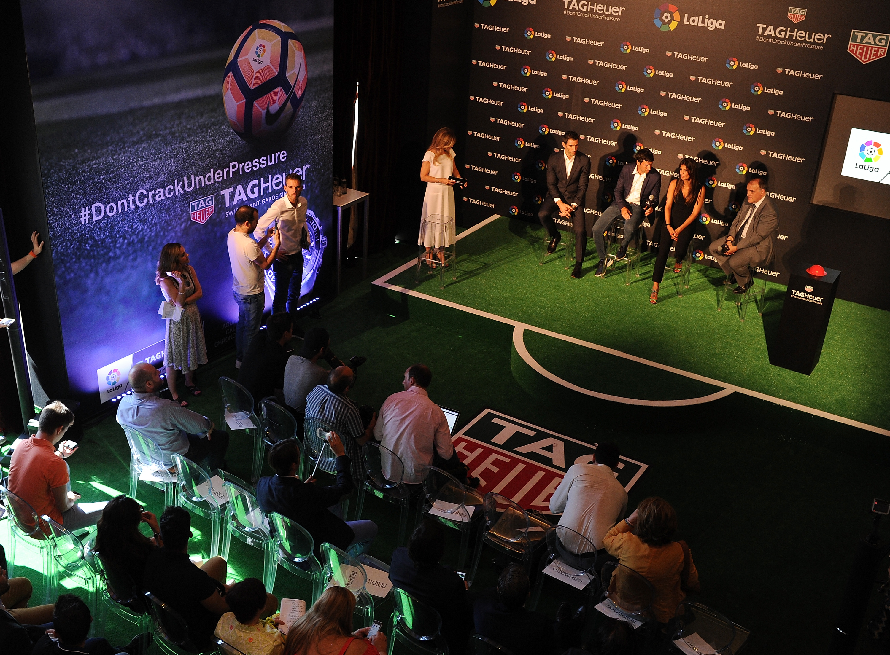 MADRID, SPAIN - JULY 13: (From L to R) Former players Fernando Sanz and Raul Gonzalez are accompanied by Blanca Panzano, Managing Director Spain of TAG Heuer and Javier Tebas, President of La Liga during the press conference to announce TAG Heuer as the Official Timekeeper and Official Sponsor of La Liga at the Royal Theatre on July 13, 2016 in Madrid, Spain. (Photo by Denis Doyle/Getty Images for Tag Heuer)