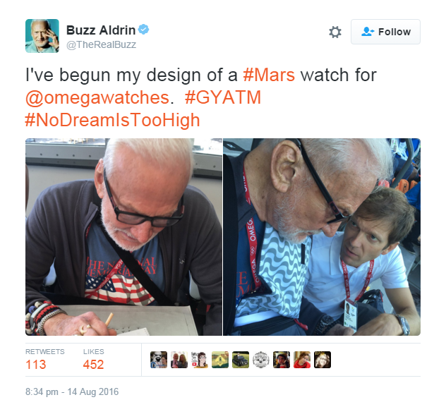Buzz Aldrin tweet omega mars watch